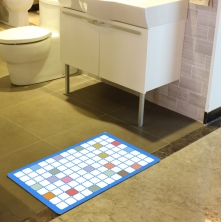 China Bright Grid Printing Bathroom Rugs factory