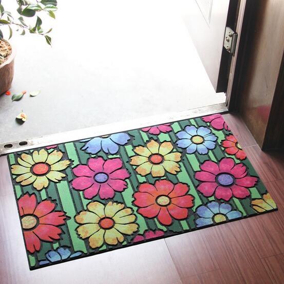 Flower Design Recycle Rubber Door Mat Plant Design